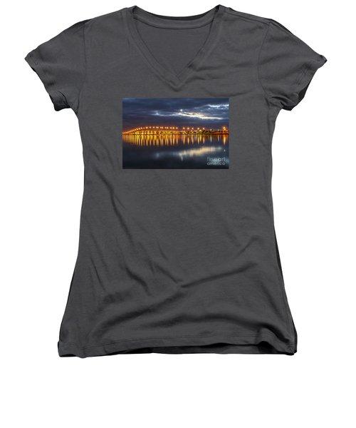 Jensen Beach Causeway #5 Women's V-Neck T-Shirt (Junior Cut) by Tom Claud