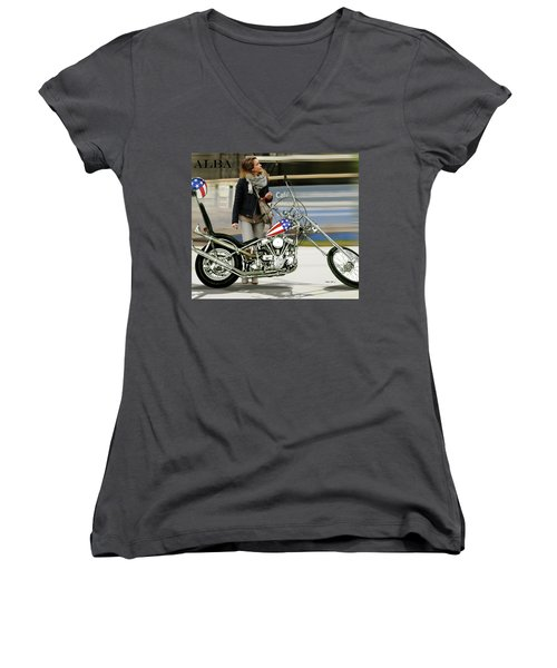 Jessica Alba, Captain America, Easy Rider Women's V-Neck T-Shirt