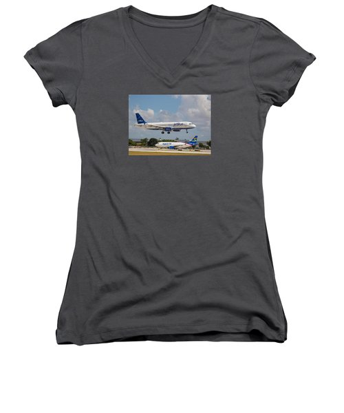 Jetblue Over Spirit Air Women's V-Neck (Athletic Fit)