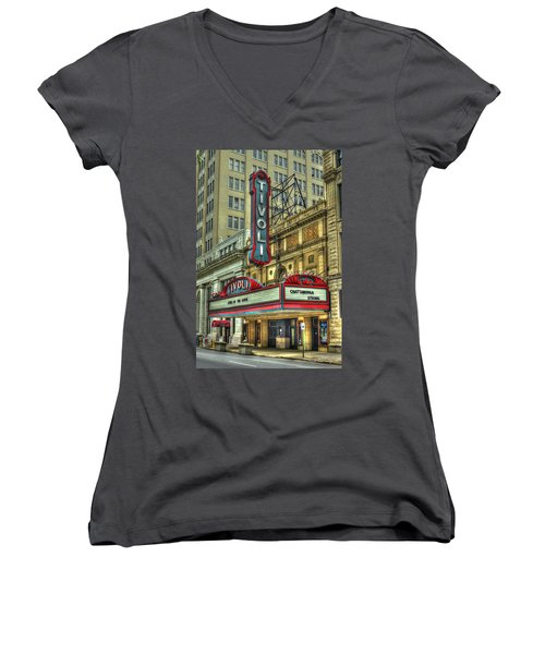 Jewel Of The South Tivoli Chattanooga Historic Theater Women's V-Neck T-Shirt (Junior Cut) by Reid Callaway