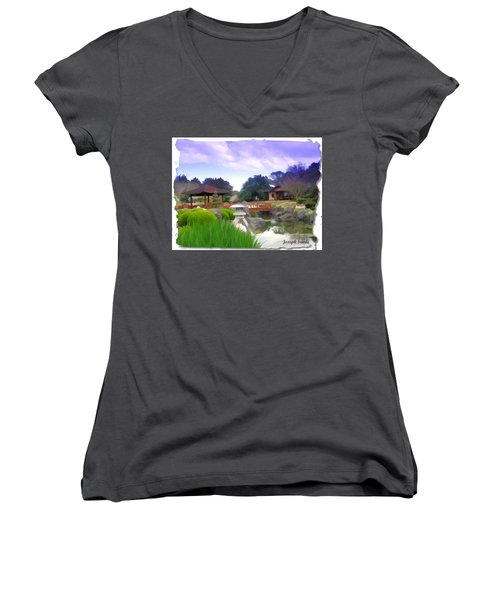 Women's V-Neck T-Shirt (Junior Cut) featuring the photograph Jg-0021 Kotaji Lantern by Digital Oil
