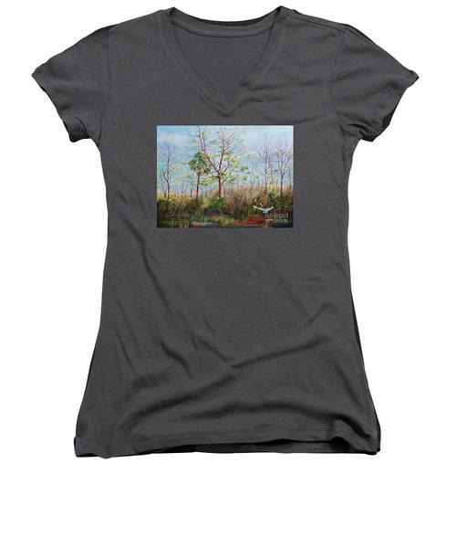 Jim Creek Lift Off Women's V-Neck T-Shirt (Junior Cut) by AnnaJo Vahle