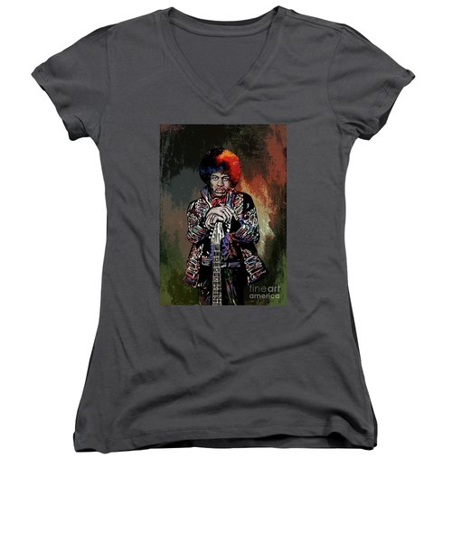 Women's V-Neck T-Shirt (Junior Cut) featuring the painting Jimi  by Andrzej Szczerski
