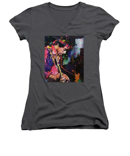 Jimi Hendrix II Women's V-Neck (Athletic Fit)
