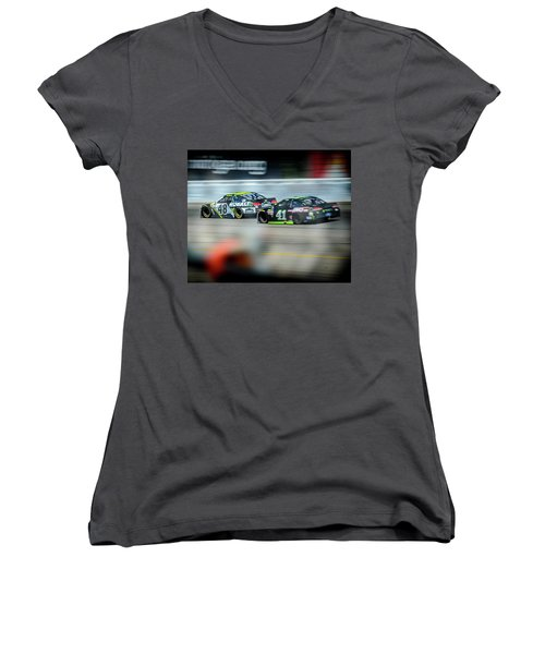 Jimmie Johnson Charging Ahead At Mis Women's V-Neck T-Shirt