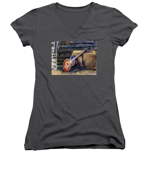 Women's V-Neck featuring the painting Jim's Guitar by Andrew King