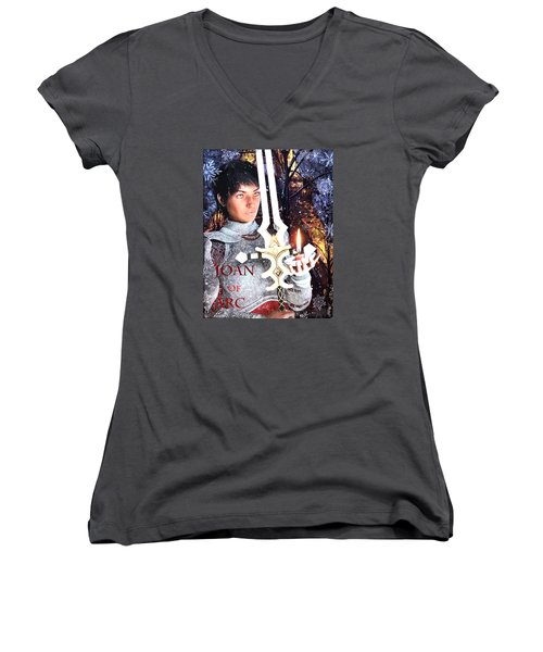 Women's V-Neck T-Shirt (Junior Cut) featuring the painting Joan , Light Of France by Suzanne Silvir