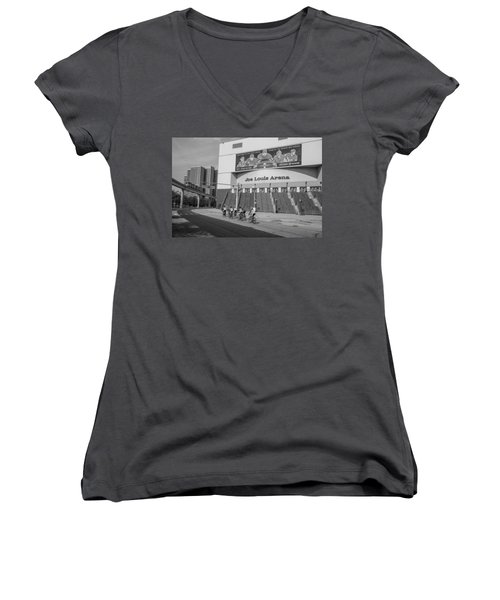 Joe Louis Arena Black And White With Bikers Women's V-Neck