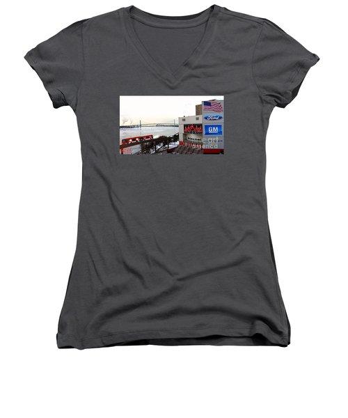 Women's V-Neck T-Shirt (Junior Cut) featuring the photograph Joe Louis Arena by Michael Rucker
