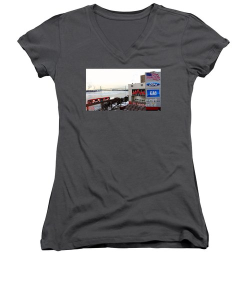 Joe Louis Arena Women's V-Neck (Athletic Fit)