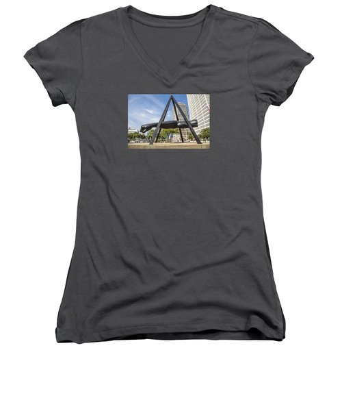 Joe Louis Fist In Detroit In Color  Women's V-Neck T-Shirt (Junior Cut)