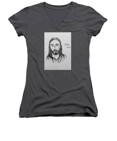 Women's V-Neck T-Shirt (Junior Cut) featuring the drawing John 3 16 by Victoria Lakes