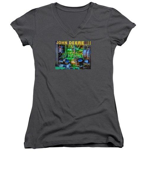 John Deere Engine Women's V-Neck T-Shirt (Junior Cut) by Trey Foerster