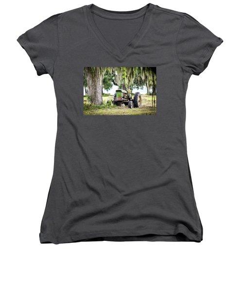 John Deere - Hay Day Women's V-Neck T-Shirt (Junior Cut) by Scott Hansen