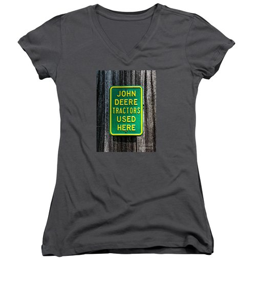 Women's V-Neck T-Shirt (Junior Cut) featuring the photograph John Deere Used Here by Paul Mashburn