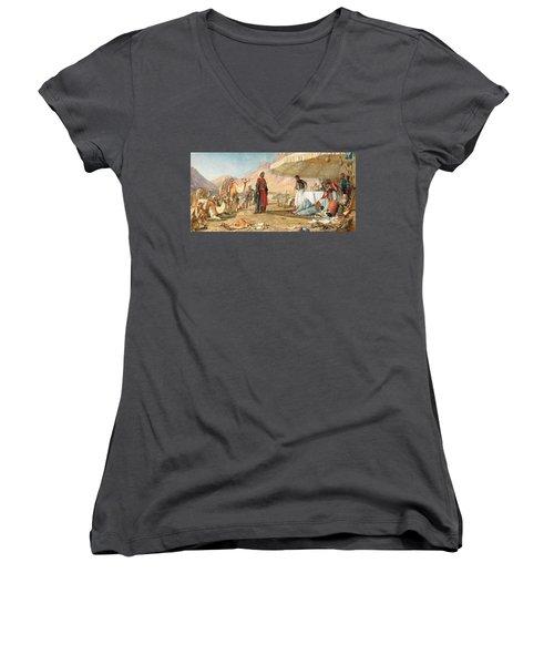 Women's V-Neck T-Shirt (Junior Cut) featuring the photograph John Frederick Lewis Mount Sinai 1842 by Munir Alawi