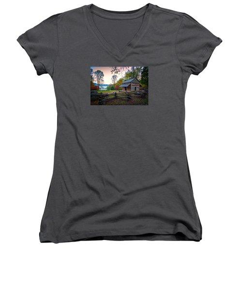 John Oliver Place In Cades Cove Women's V-Neck T-Shirt (Junior Cut) by Rick Berk