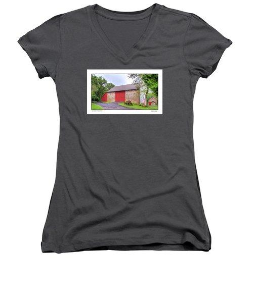 Women's V-Neck T-Shirt (Junior Cut) featuring the photograph John Updike's Childhood Barn by R Thomas Berner