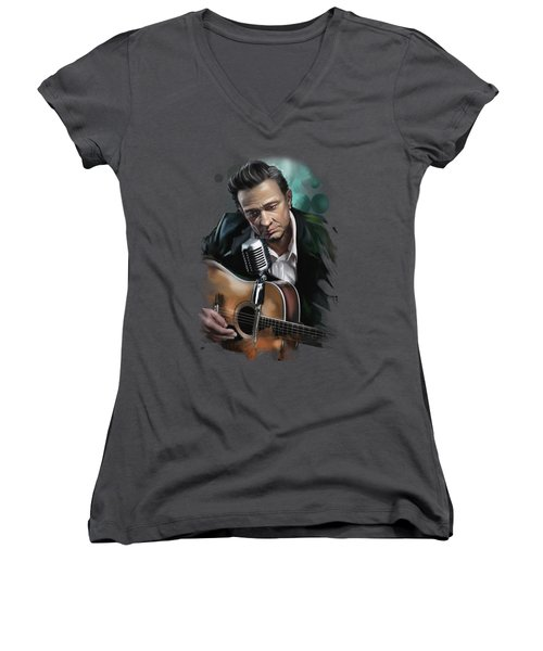 Johnny Cash Women's V-Neck (Athletic Fit)