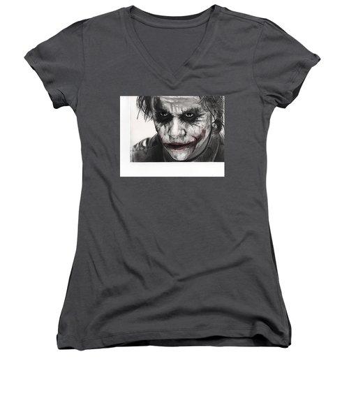 Joker Face Women's V-Neck T-Shirt (Junior Cut) by James Holko