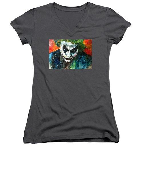 Joker - Heath Ledger Women's V-Neck T-Shirt