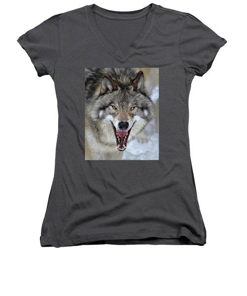 Joker Women's V-Neck T-Shirt (Junior Cut) by Tony Beck
