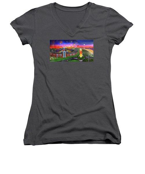 Jones Beach Theatre Towel Version Women's V-Neck T-Shirt