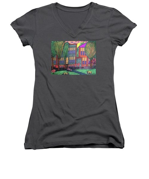 Women's V-Neck T-Shirt (Junior Cut) featuring the drawing Jordan College West Drive Menominee by Jonathon Hansen