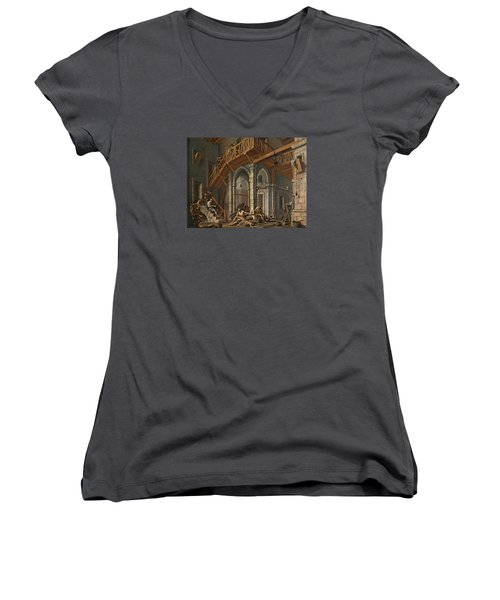 Women's V-Neck T-Shirt (Junior Cut) featuring the painting Joseph Interprets The Dreams Of The Pharaoh's Servants Whilts In Jail by Alessandro Magnasco