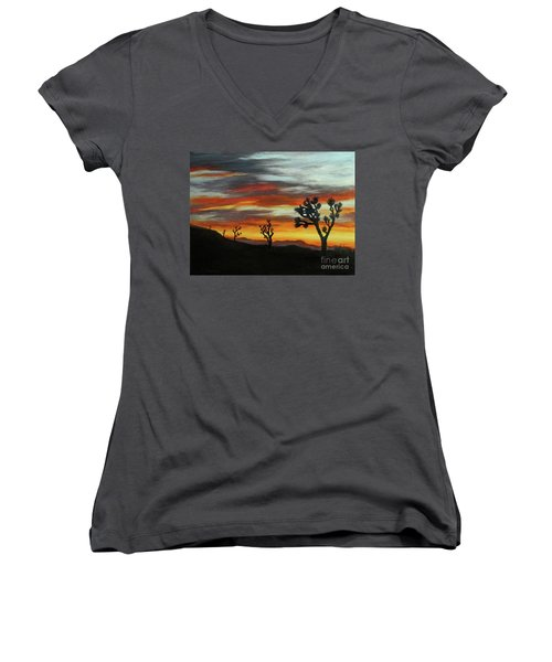 Joshua Trees At Sunset Women's V-Neck (Athletic Fit)