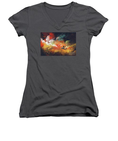 Journey To Outer Space Women's V-Neck