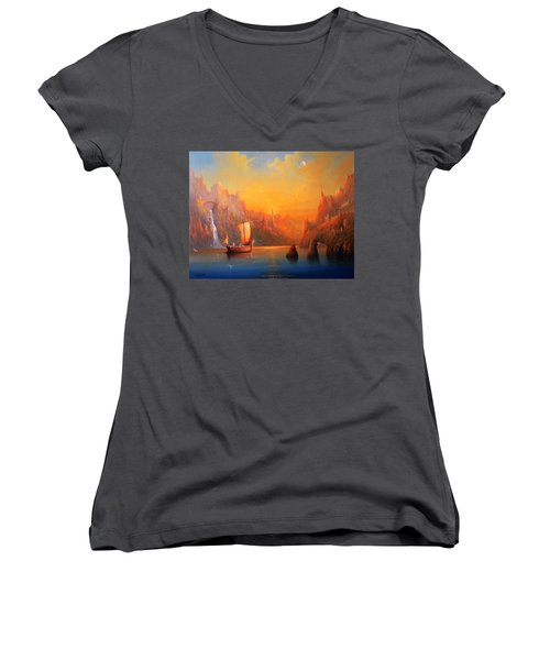 Journey To The Undying Lands Women's V-Neck T-Shirt (Junior Cut) by Joe  Gilronan
