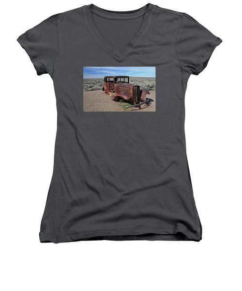 Journey's End Women's V-Neck T-Shirt (Junior Cut) by Gary Kaylor