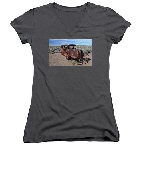 Journey's End Women's V-Neck T-Shirt (Junior Cut) by Gary Kaylor