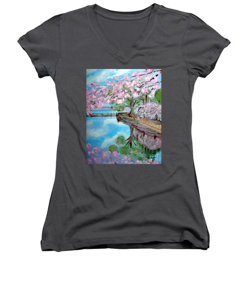 Joy Of Spring. Acrylic Painting For Sale Women's V-Neck (Athletic Fit)