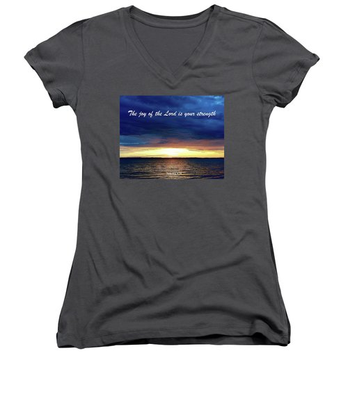 Joy Of The Lord Women's V-Neck T-Shirt (Junior Cut) by Russell Keating
