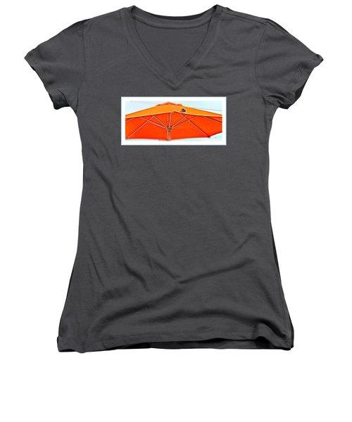 Women's V-Neck T-Shirt (Junior Cut) featuring the digital art Joy On An Umbrella by Mindy Newman
