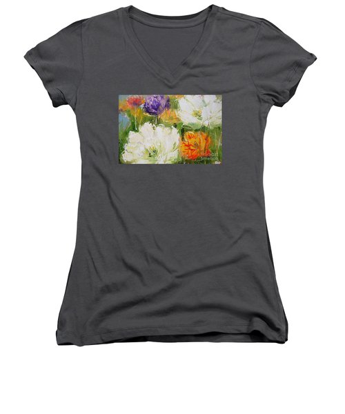 Joy With Tulips Women's V-Neck (Athletic Fit)