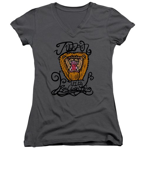 Judah The Real Lion King Women's V-Neck (Athletic Fit)