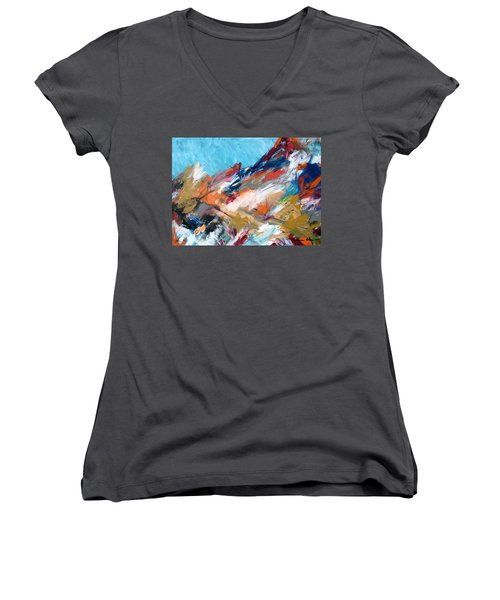 Judean Hill Abstract Women's V-Neck T-Shirt (Junior Cut) by Esther Newman-Cohen