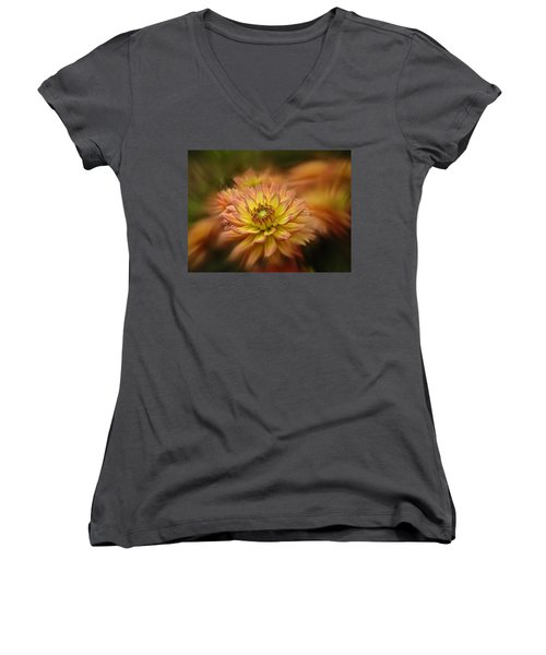 Juiy 2016 Dahlia Women's V-Neck T-Shirt (Junior Cut) by Richard Cummings