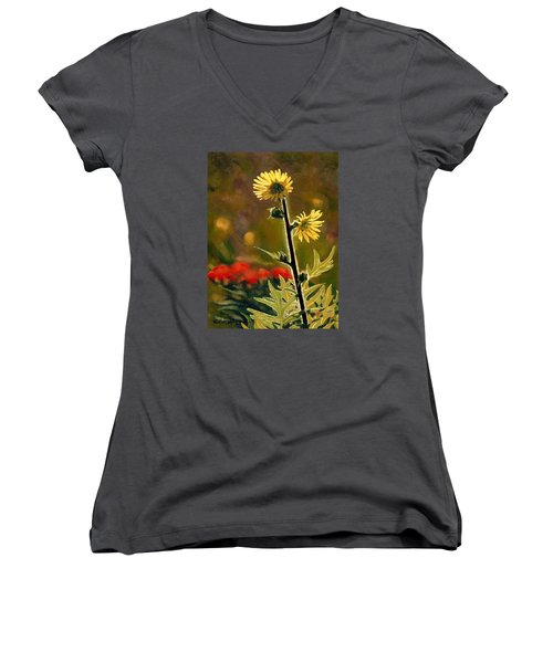 July Afternoon-compass Plant Women's V-Neck T-Shirt (Junior Cut) by Bruce Morrison