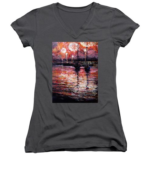 July Fourth Fireworks On The Hudson Women's V-Neck (Athletic Fit)