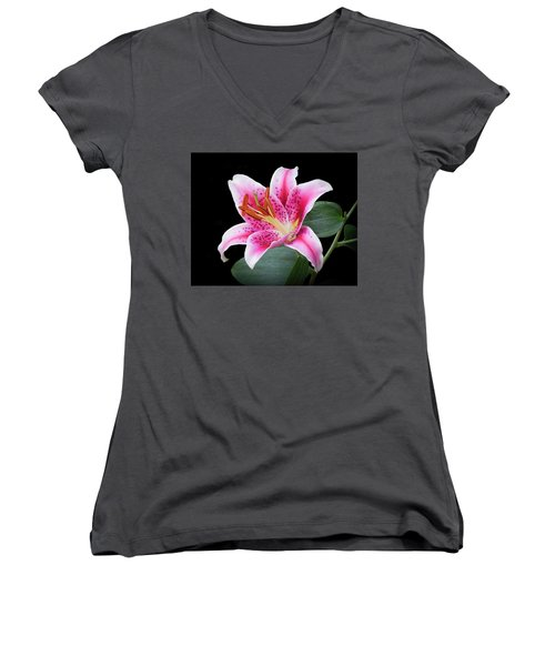 July Stargazer Lily Women's V-Neck T-Shirt