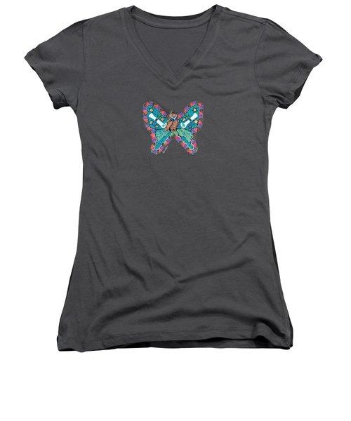 June Butterfly Women's V-Neck (Athletic Fit)