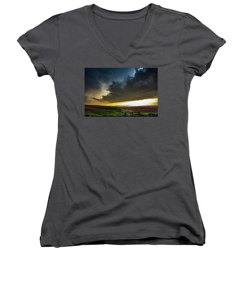June Comes In With A Boom 005 Women's V-Neck