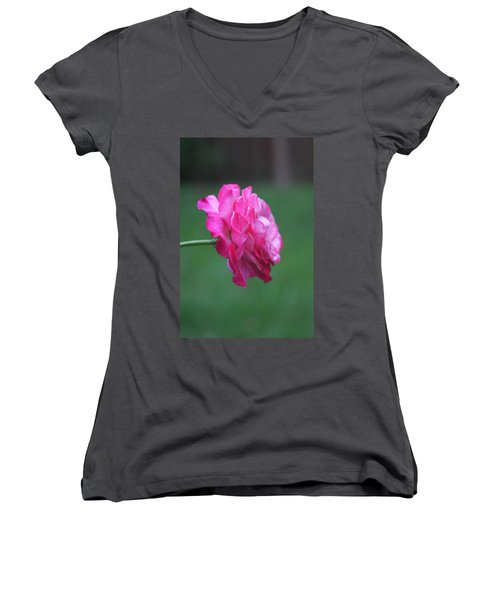Women's V-Neck T-Shirt featuring the photograph June Rose by Vadim Levin