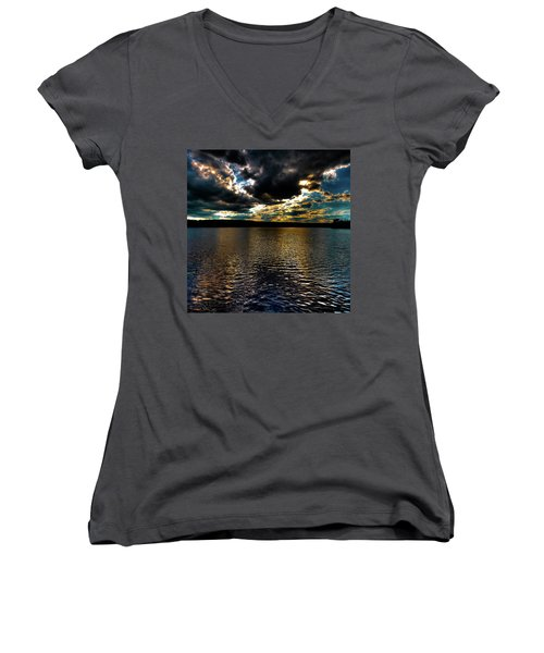 Women's V-Neck T-Shirt (Junior Cut) featuring the photograph June Sunset On Nicks Lake by David Patterson