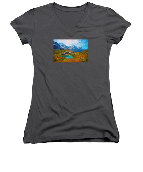 Jungfrau And Pond Women's V-Neck T-Shirt (Junior Cut) by Gerhardt Isringhaus