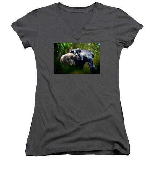 Jungle Baby Hitch Hiker Women's V-Neck T-Shirt (Junior Cut) by Lori Seaman